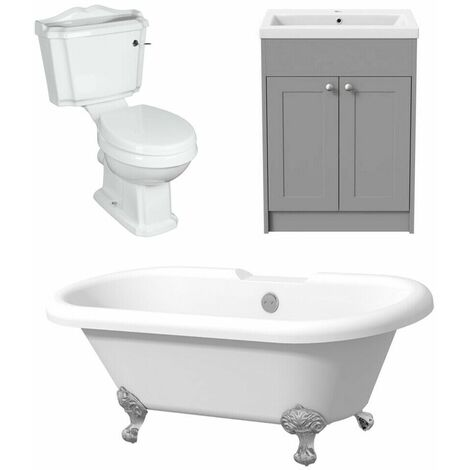Bathroom Suite Traditional Toilet Roll Top Freestanding Bath Modern Grey Vanity