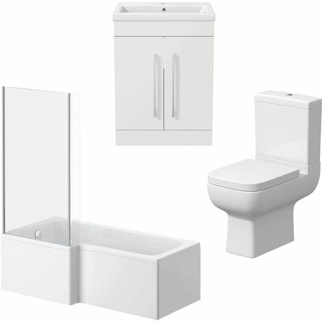 Bathroom Suite Vanity Unit Basin L Shape Bath And Close Coupled Toilet White LH