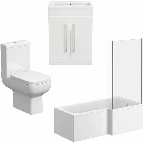 Bathroom Suite Vanity Unit Basin L Shape Bath And Close Coupled Toilet White RH