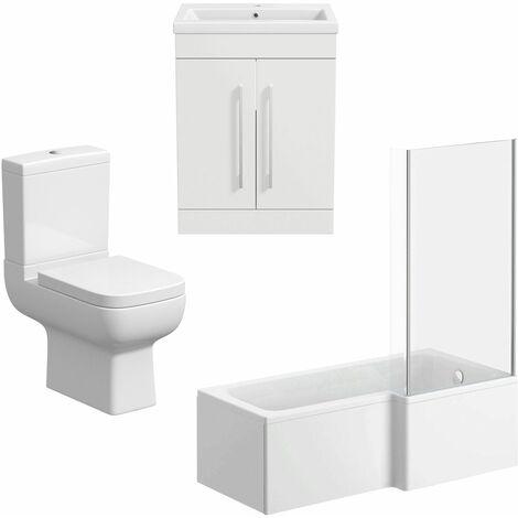 Bathroom Suite Vanity Unit Basin L Shape Bath And Close Coupled Toilet White RH