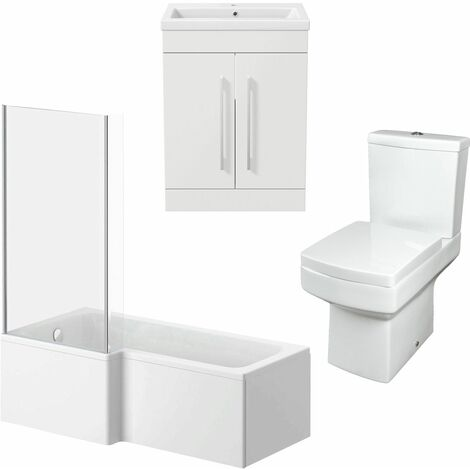 Bathroom Suite Vanity Unit Basin L Shape Bath With Square Toilet WC White LH