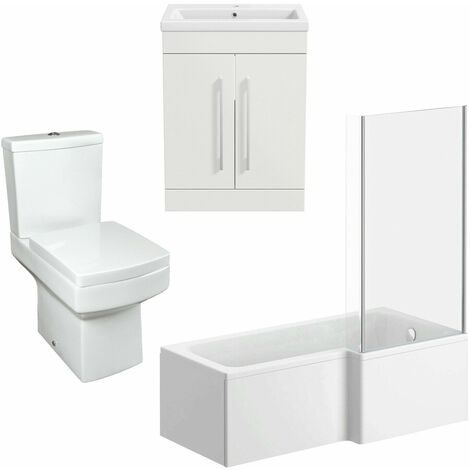 Bathroom Suite Vanity Unit Basin L Shape Bath With Square Toilet WC White RH