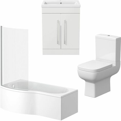 Bathroom Suite Vanity Unit Basin P Shape Bath Close Coupled Toilet White LH
