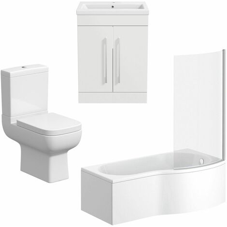Bathroom Suite Vanity Unit Basin P Shape Bath Close Coupled Toilet White RH
