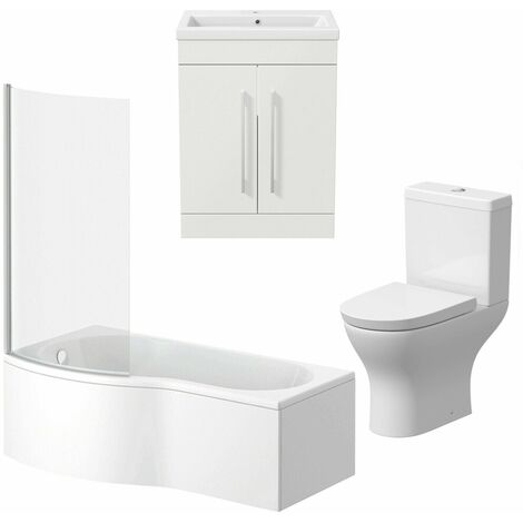 Bathroom Suite Vanity Unit Basin P Shape Bath With Curved Pan Toilet White LH