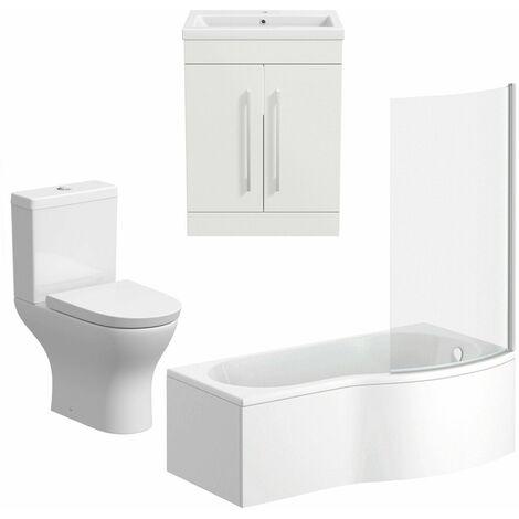 Bathroom Suite Vanity Unit Basin P Shape Bath With Curved Pan Toilet White RH