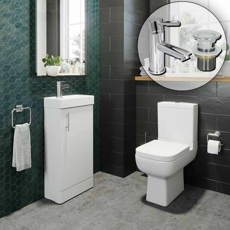 Bathroom Suite Vanity Unit Close Coupled Toilet Basin Tap Set