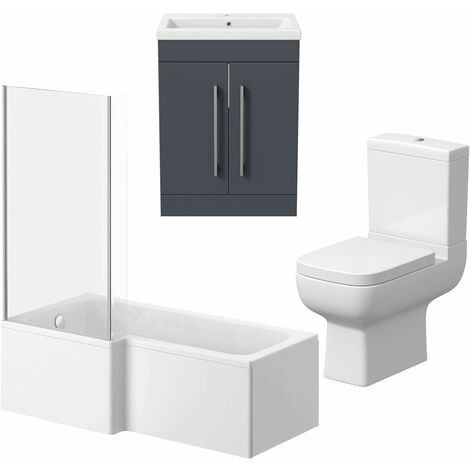 Bathroom Suite Vanity Unit L Shape Bath And Close Coupled Toilet Gloss Grey LH