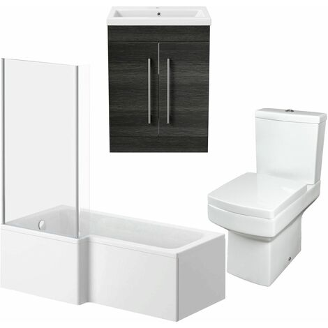 Bathroom Suite Vanity Unit L Shape Bath And Square Toilet WC Charcoal Grey LH