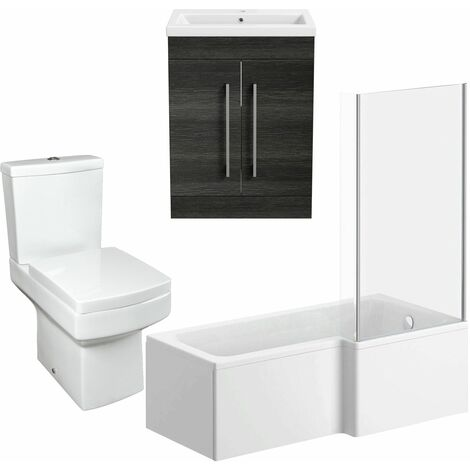 Bathroom Suite Vanity Unit L Shape Bath And Square Toilet WC Charcoal Grey RH
