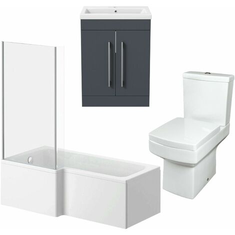 Bathroom Suite Vanity Unit L Shape Bath And Square Toilet WC Gloss Grey LH