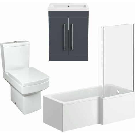 Bathroom Suite Vanity Unit L Shape Bath And Square Toilet WC Gloss Grey RH