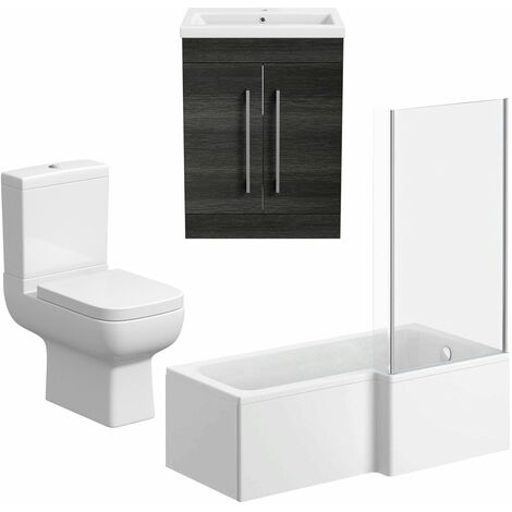 Bathroom Suite Vanity Unit L Shape Bath Close Coupled Toilet Charcoal Grey RH