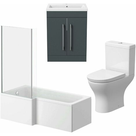 Bathroom Suite Vanity Unit L Shape Bath Curved Toilet Gloss Grey LH