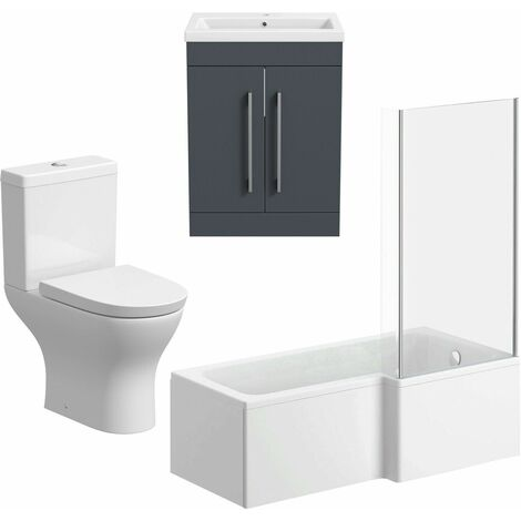 Bathroom Suite Vanity Unit L Shape Bath Curved Toilet Gloss Grey RH