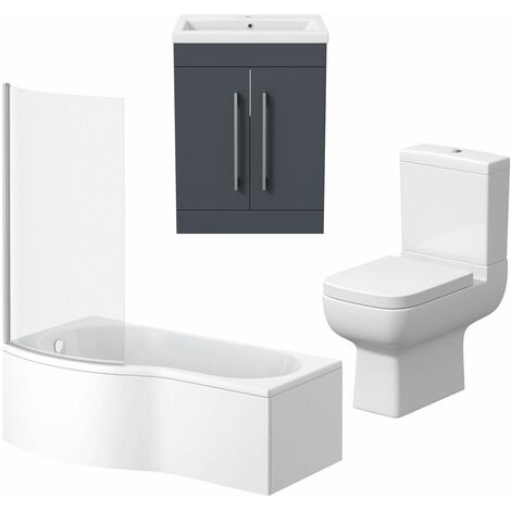 Bathroom Suite Vanity Unit P Shape Bath And Close Coupled Toilet Gloss Grey LH