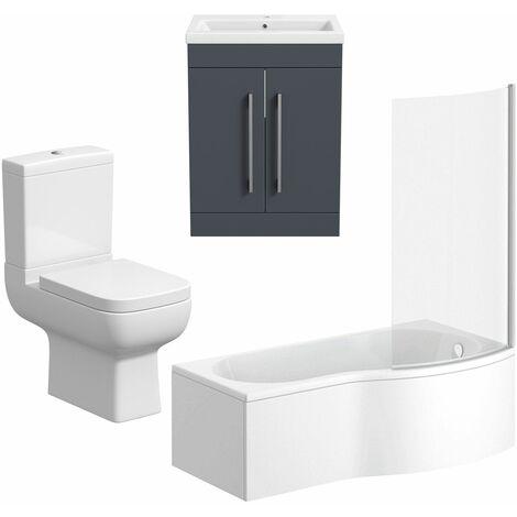 Bathroom Suite Vanity Unit P Shape Bath And Close Coupled Toilet Gloss Grey RH