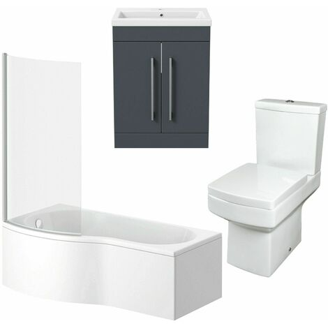 Bathroom Suite Vanity Unit P Shape Bath And Square Toilet Gloss Grey LH