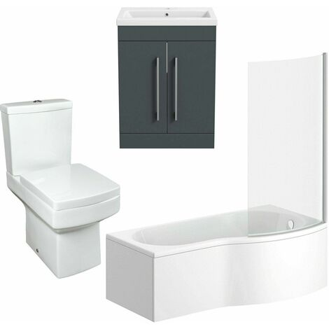 Bathroom Suite Vanity Unit P Shape Bath And Square Toilet Gloss Grey RH