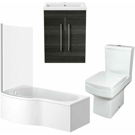 Bathroom Suite Vanity Unit P Shape Bath And Square Toilet WC Charcoal Grey LH