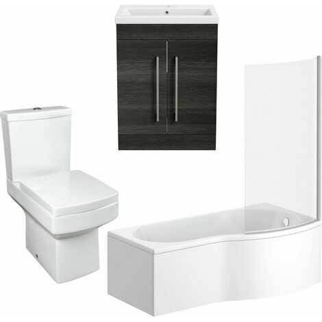 Bathroom Suite Vanity Unit P Shape Bath And Square Toilet WC Charcoal Grey RH