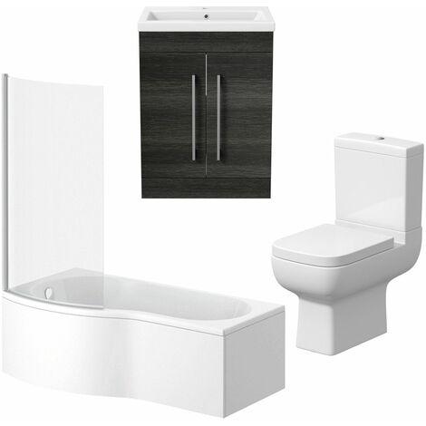 Bathroom Suite Vanity Unit P Shape Bath Close Coupled Toilet Charcoal Grey LH