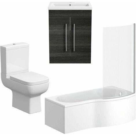 Bathroom Suite Vanity Unit P Shape Bath Close Coupled Toilet Charcoal Grey RH