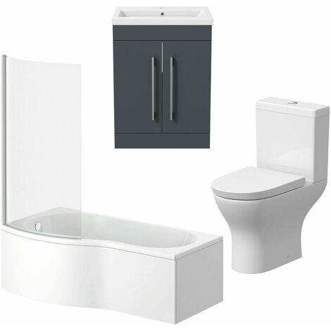 Bathroom Suite Vanity Unit P Shape Bath Curved Toilet Gloss Grey LH