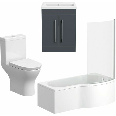 Bathroom Suite Vanity Unit P Shape Bath Curved Toilet Gloss Grey RH