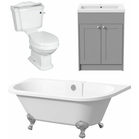 Bathroom Suite Vanity Unit with Basin Freestanding Bath and Traditional Toilet