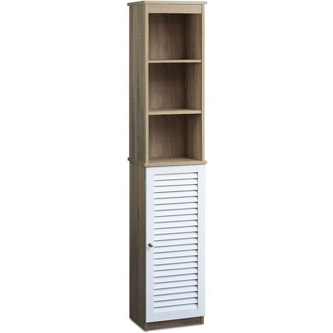 Bathroom tall cabinet with glass doors in white Model 1 - Brown / White