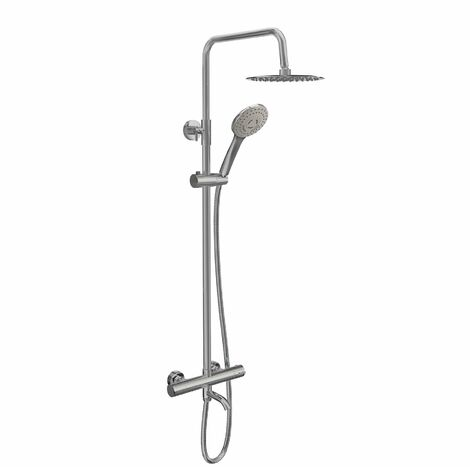 Bathroom Thermostatic Mixer Shower Set Bath Filler Tap Round Twin Head Drencher