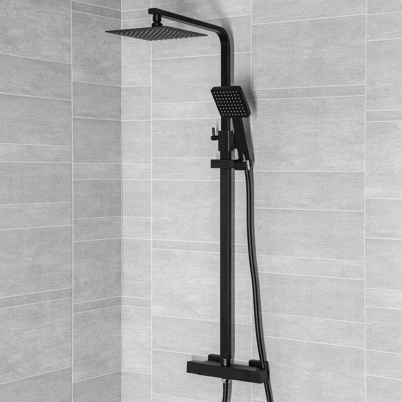 Bathroom Thermostatic Mixer Shower Set Square Black Twin