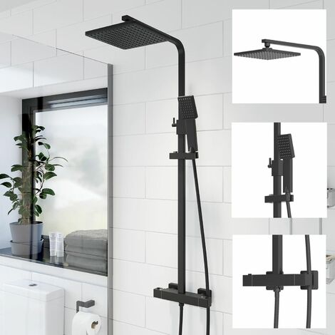 Bathroom Thermostatic Mixer Shower Set Square Black Twin Head Exposed Valve