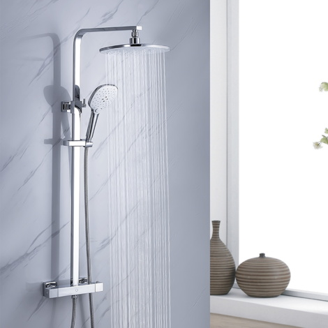 "Bathroom Thermostatic Mixer Shower System with 9.5"" Rainfall Shower Head and 4.7"" Hand Shower, Extended to Extended to 33-47"", Square Rod"