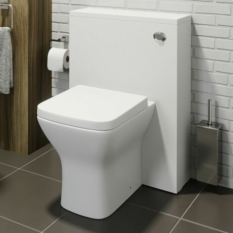 Bathroom Toilet 500mm Concealed Cistern White Gloss Dual Flush Soft Close Seat