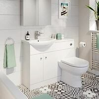 Bathroom Toilet & Basin Vanity Unit 1TH Unit 1050mm Matte White