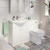 Bathroom Toilet & Basin Vanity Unit 1TH Unit 1155mm Matte White