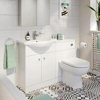 Bathroom Toilet & Basin Vanity Unit 1TH Unit 1200mm Matte White