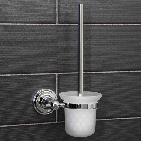 Bathroom Toilet Brush Traditional Wall Mounted Holder Round Polished Chrome