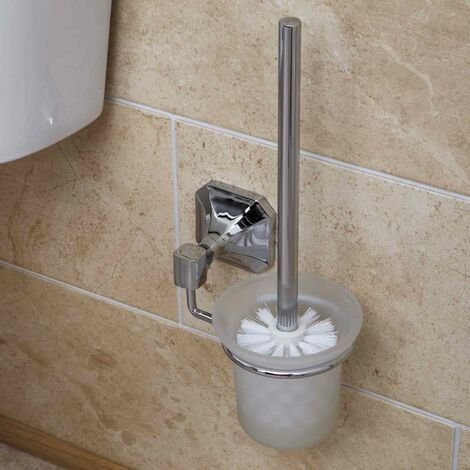 Bathroom Toilet Brush Traditional Wall Mounted Holder Square Polished Chrome