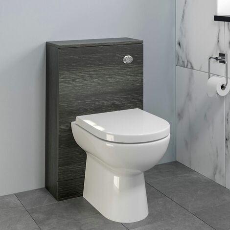 Bathroom Toilet Concealed Cistern Unit Pan Soft Close Grey 500mm
