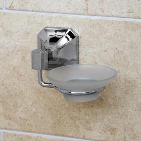 Bathroom Toilet Glass Soap Dish Traditional Wall Mounted Square Chrome Holder
