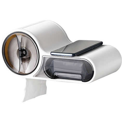 Bathroom Toilet Paper Holder with Shelf Paper Towel Dispenser Wall Mounted