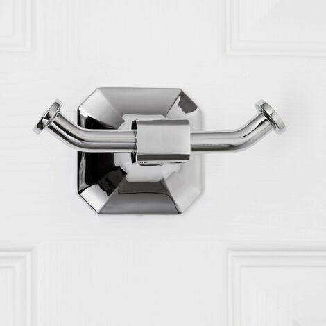 Bathroom Toilet Robe Towel Double Hook Traditional Chrome Wall Mounted Accessory