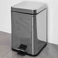 Bathroom Toilet Rubbish Waste Bin Square Pedal Stainless Steel Silver 6 Litre