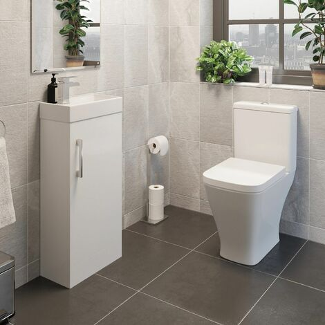 Bathroom Toilet Vanity Unit Close Coupled WC Soft Close Cistern Ceramic White