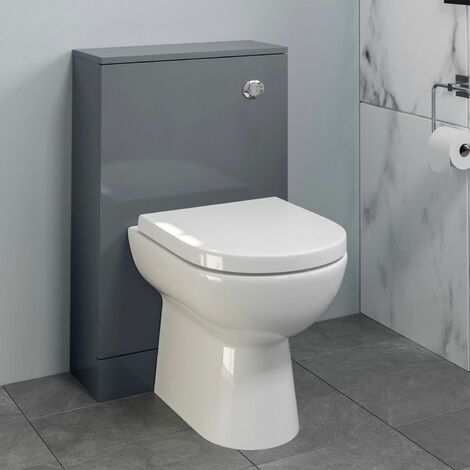 Bathroom Toilet WC Concealed Cistern Pan Soft Close Gloss Grey 500mm
