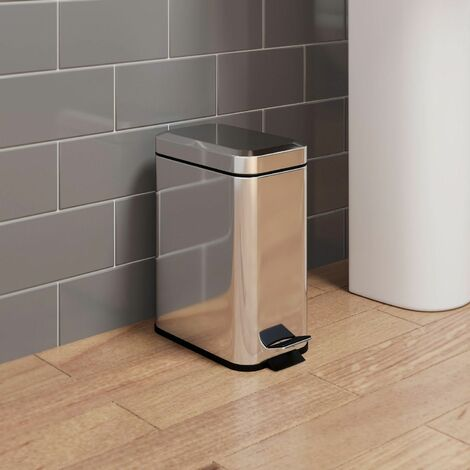 Bathroom Toilet WC Rubbish Waste Bin Rectangular Pedal Chrome 5 Litre
