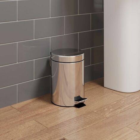 Bathroom Toilet WC Rubbish Waste Bin Round Pedal Chrome 3 Litre Modern